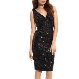 Eliza J V Neck Sequin Dress